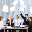 Stock Photo: Happy successful gesturing business team at office