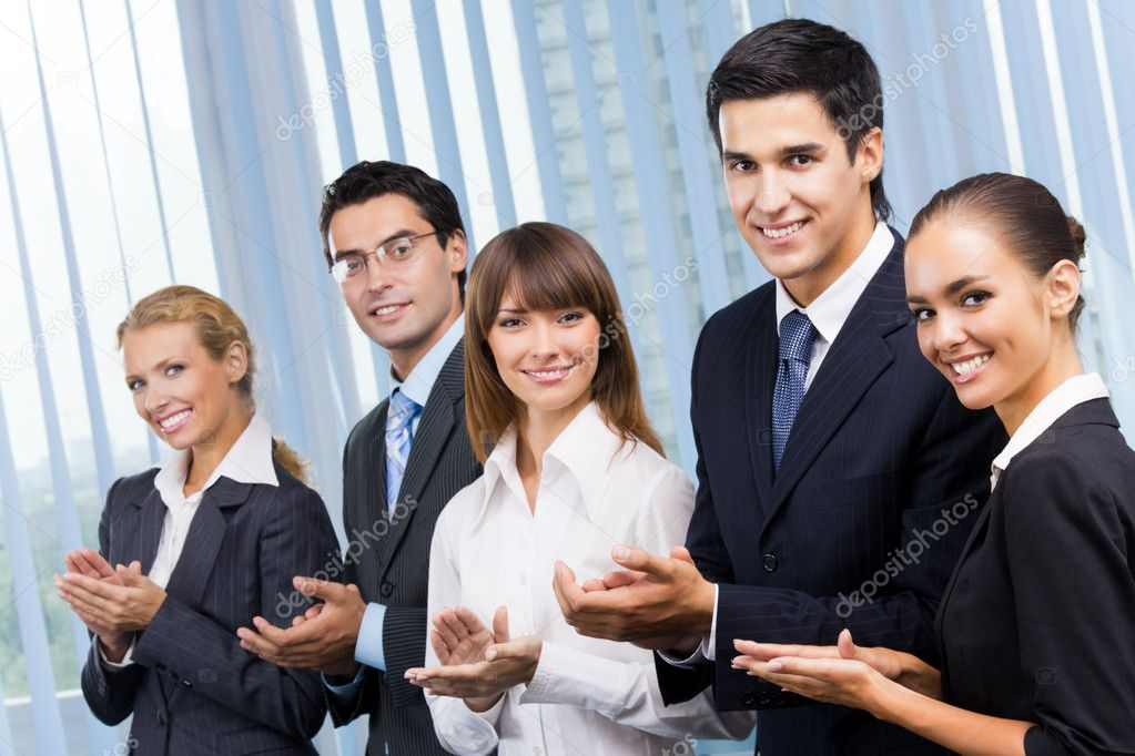 Happy businesspeople applauding at office — Stock Photo #7511302