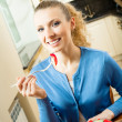 Young happy smiling woman with fegetarian salad at home — Stock Photo #7543313