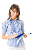 Businesswoman writing on documents, isolated — Stock Photo