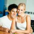 Couple with salad at home — Stock Photo #7857877