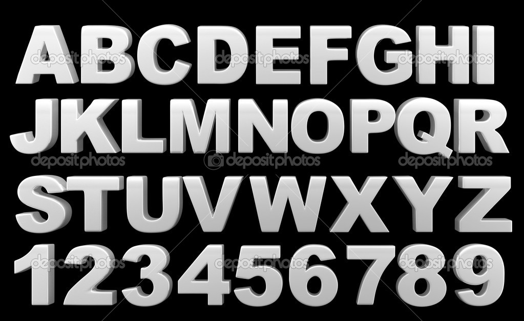 Silver full 3d alphabet with numerals.On a black background — Stock Photo #6874609