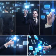 Set of business man and hands pushing a button on a touch screen interface — Stockfoto
