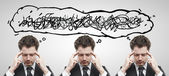 Three businessmen with confusing tangle of thoughts. — Stock Photo
