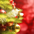 Background with a Christmas tree and holiday lights. — Stock Photo