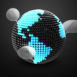 Model of Earth made of  color beads, ball with social chat sign - Stock Photo