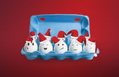 Group of happy eggs dressed in Santa-Claus red-white hats. — Stock Photo