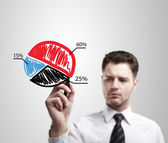 Young business man drawing a colorful pie chart graph with percentages — Stock Photo