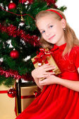 Young girl with gift sit near Christmas tree. — Stock Photo