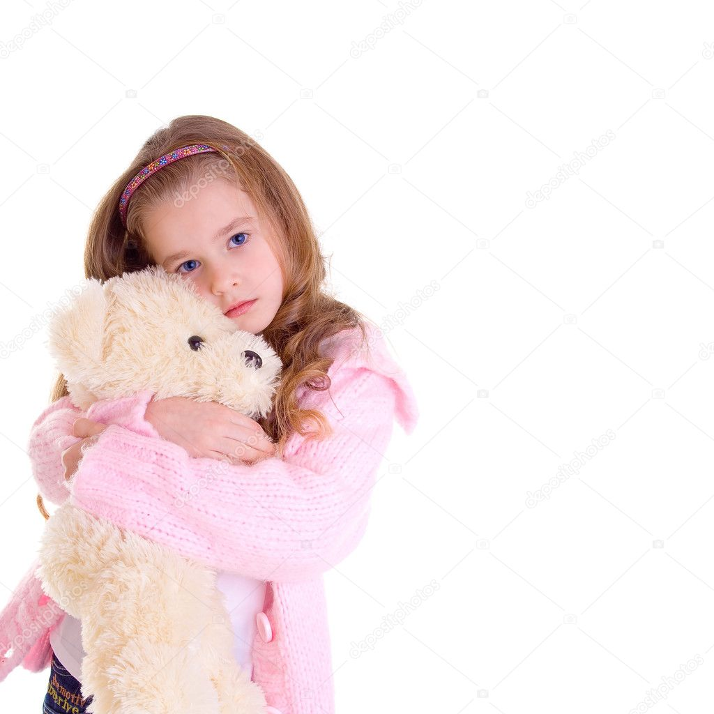 Young girl with bear on white background — Stock Photo #6852282