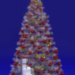 Christmas tree and gift box — Stock Photo