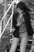 移动和快乐的女人. — 图库照片