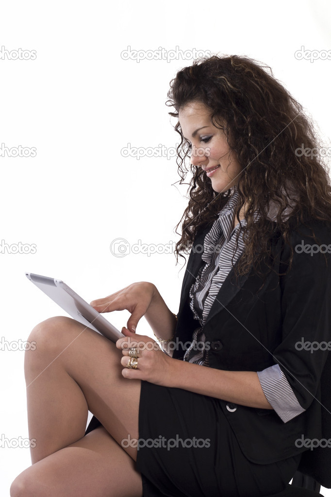 Picture of happy woman with tablet pc — Stock Photo #7622797