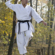 Karate in forestry — Stock Photo