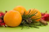 Sinaasappelen op groene vloer — Stockfoto