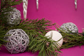 Christmas decoration with violett background — Stock Photo
