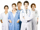 Group of smiling medical on white background — Stock Photo