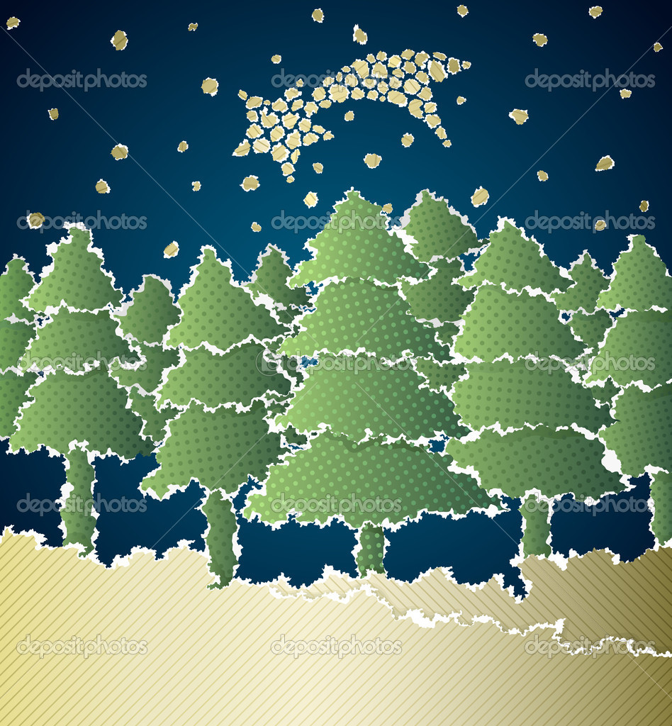 Christmas vector background made of torn paper — Stock Vector #6953685