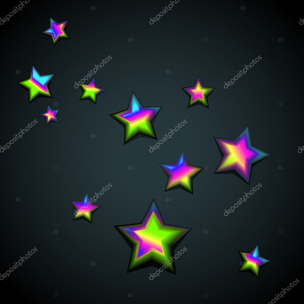 Stars, vector background with rainbow stars — Stock Vector #6977064