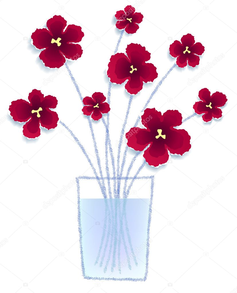 Flowers in a vase made of torn paper, vector eps8 illustration  Stock Vector #7003065