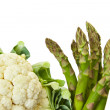 Fresh asparagus and cauliflower Isolated on white background — Stock Photo