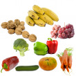 Stock Photo: Fruits and vegetables isolated