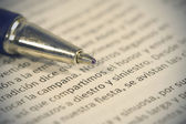 Pen and book, macro detail — Stock Photo