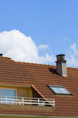 Roof with chimneys of buildings — Stock Photo