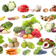 Collection of fruit and vegetables, vegetarian diet — Stock Photo