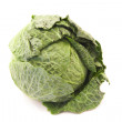 Green leafy cabbage isolated on white background — Stok fotoğraf