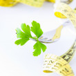 Parsley leaf and measuring tape holder — Stock Photo