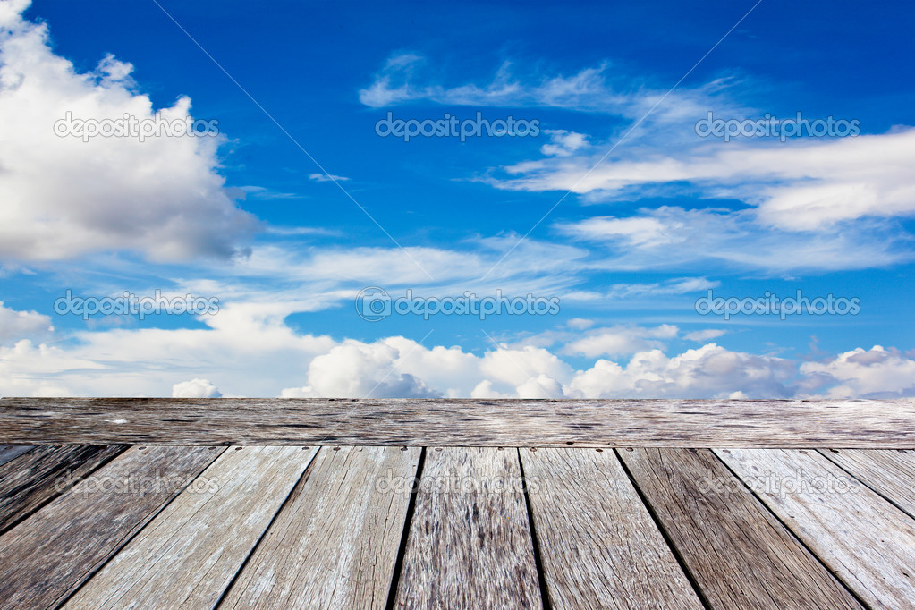 Wooden balcony in the blue sky background — Stock Photo #6965738