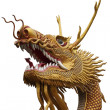 Golden chinese dragon statue — Stock Photo