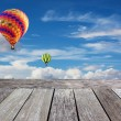 Balloon and Wooden balcony — Stock Photo