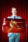 Man with the gift — Stock Photo