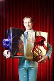 Man with the gifts — Stock Photo