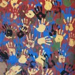 Colored handprints — Stock Photo