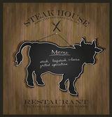 Vector Blackboard cow bull restaurant menu card — Stock Vector