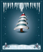 Christmas blue congratulations card tree — Vecteur