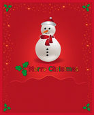 Vector Christmas red congratulations card snowman — Vettoriale Stock