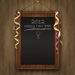 Royalty-Free Stock Vector Image: Blackboard black wood menu 2012 happy new year
