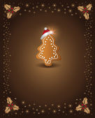 Christmas card chocolate gingerbread tree congratulations template — Vecteur