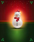 Cartões de natal vermelho verde boneco de neve — Vetor de Stock