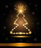 Christmas tree card congratulations gold light glow fireworks — Stock Vector