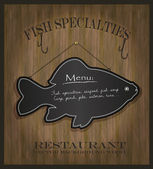 Vector Blackboard fish restaurant menu card — Stock Vector