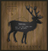 Vector Blackboard deer restaurant menu card — Stock Vector