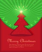 Vector navidad felicitaciones árbol verde rojo estrellas fuegos artificiales — Vector de stock