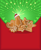 Raster Christmas congratulations red green gingerbread — Stock Photo