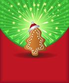 Pan di zenzero di raster natale congratulazioni albero verde rosso — Foto Stock