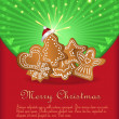 Vector Christmas congratulations red green gingerbread — Stock Vector #7631624